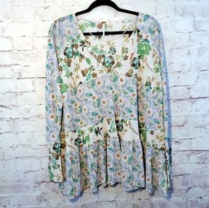 FREE PEOPLE Oversize Floral Peasant Blouse